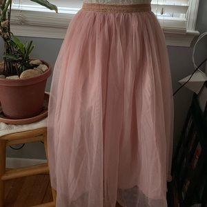 Gymboree L Blush/Rose Gold Tulle Skirt